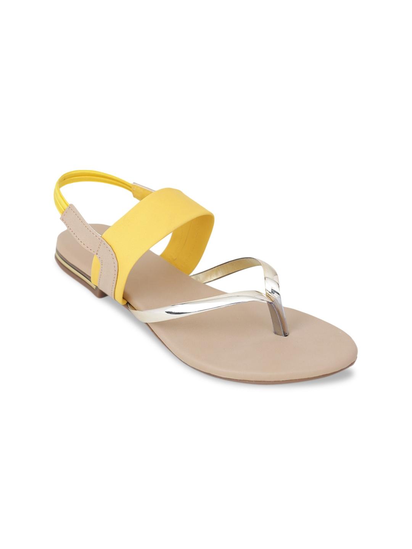 LONDON STEPS Women Yellow Solid Open Toe Flats