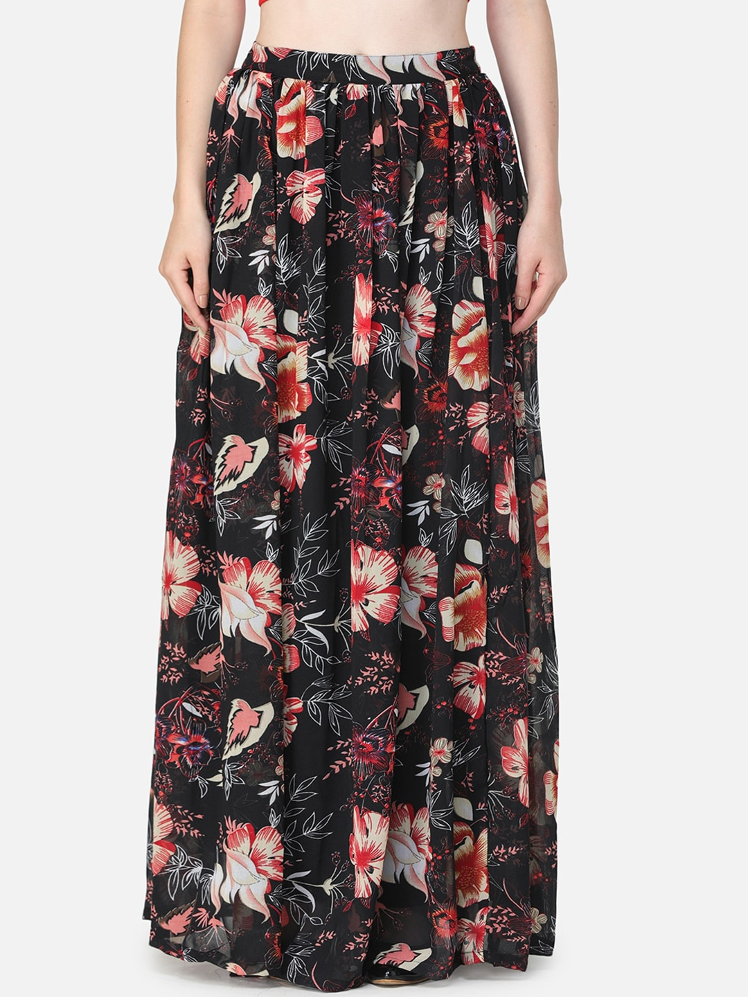 SCORPIUS Women Black   Red Floral Printed Pleated Flared Maxi Skirt