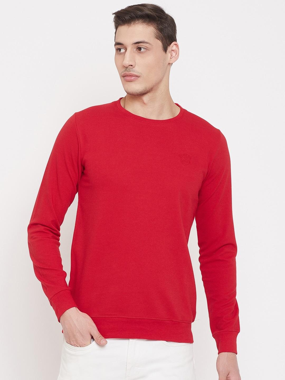 Camey Men Red Solid Full Sleeve Sweatshirt