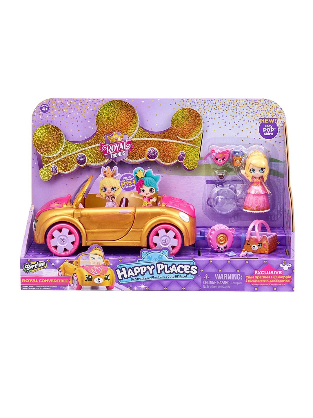 Shopkins Kids Gold Toned   Pink Happy Places S7 Royal Convertible