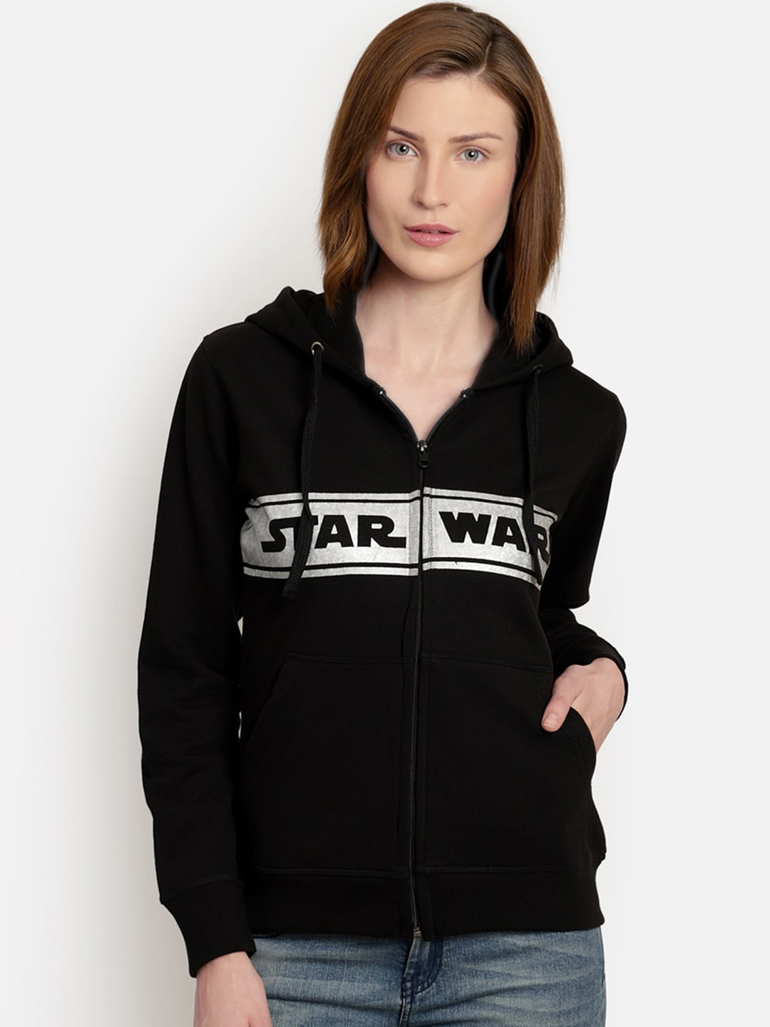 Free Authority Women Black Star Wars Print Hooded Sweatshirt