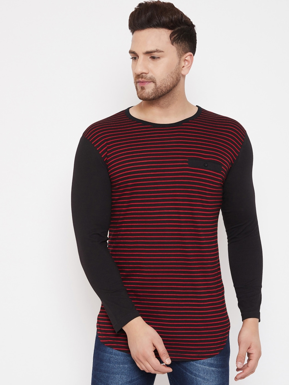 Hypernation Men Red   Black Striped Round Neck T shirt