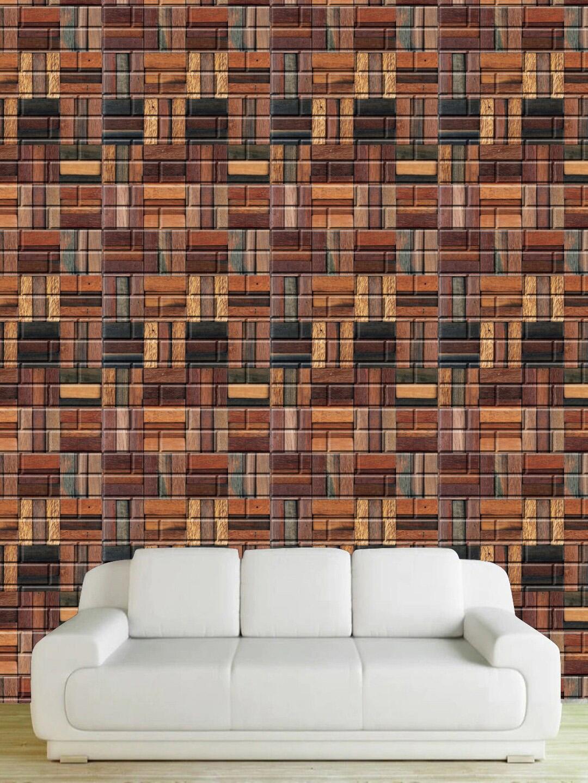 Jaamso Royals Unisex Brown 3D Brick Stone Wall Penal 3D Wallpaper