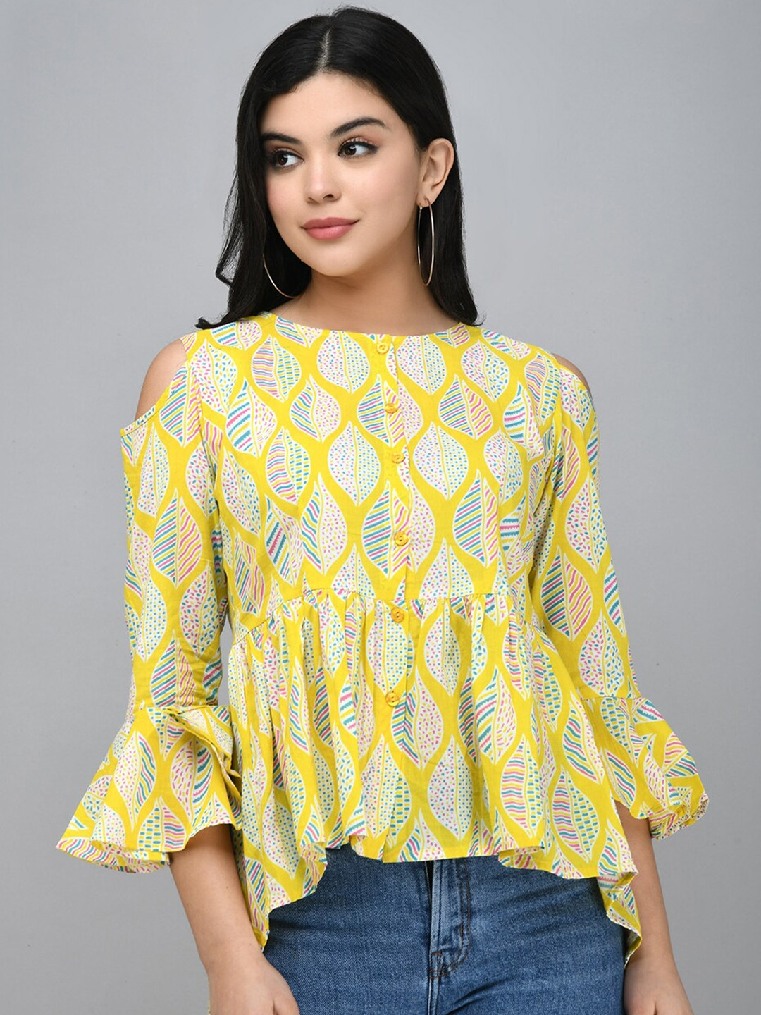Myshka Yellow Floral Printed Bell Sleeves Pure Cotton Peplum Top