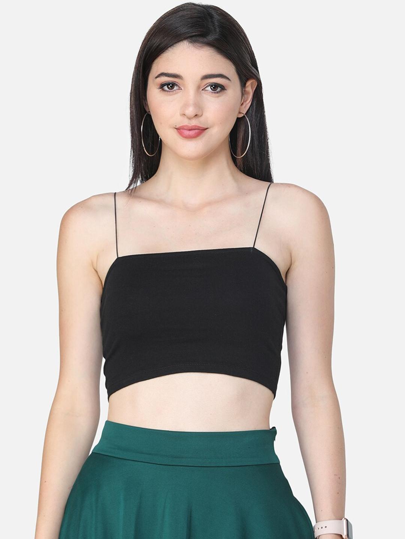 Cation Women Black Solid Bralette Crop Top