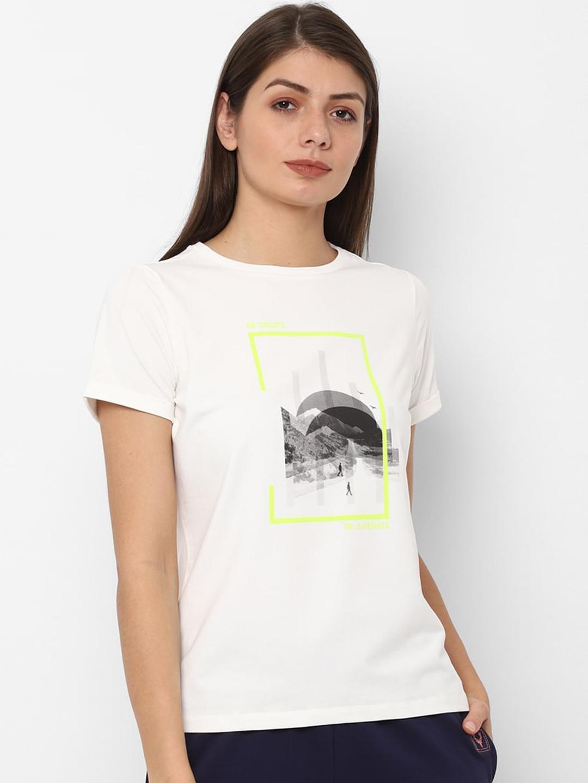 Allen Solly Woman White   Grey Printed Round Neck T shirt