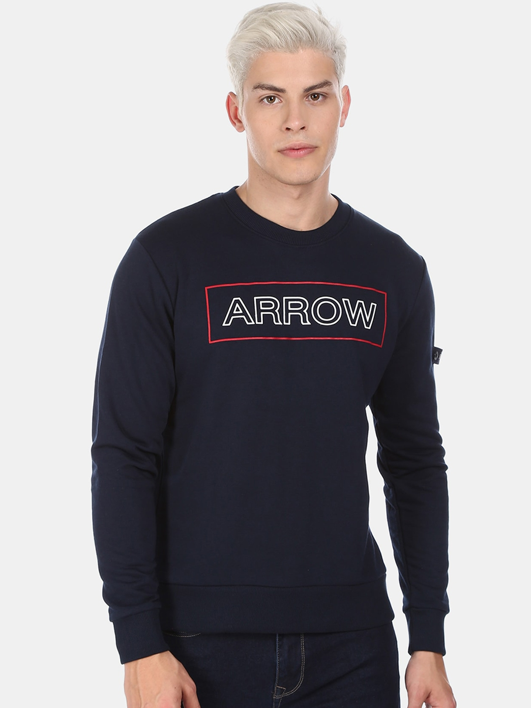 Arrow Sport Men Navy Blue Printed Sweatshirt