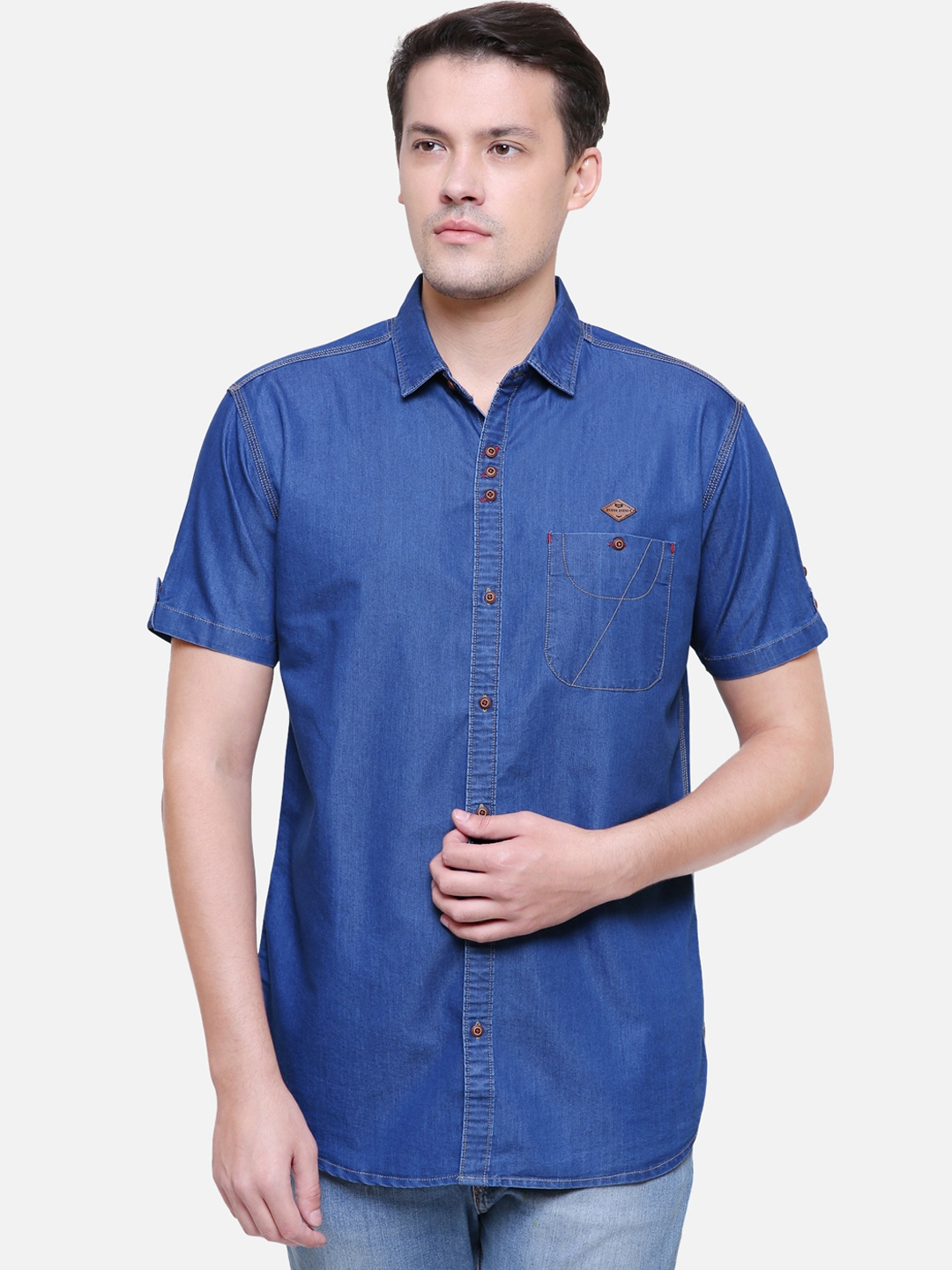 Kuons Avenue Men Blue Slim Fit Solid Casual Shirt