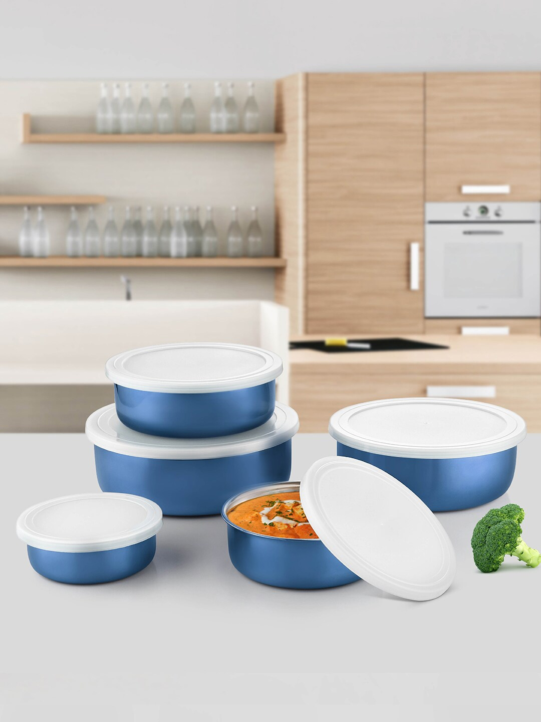 Jensons Set Of 5 Blue   White Stainless Steel Food Storage Bowls With Lid