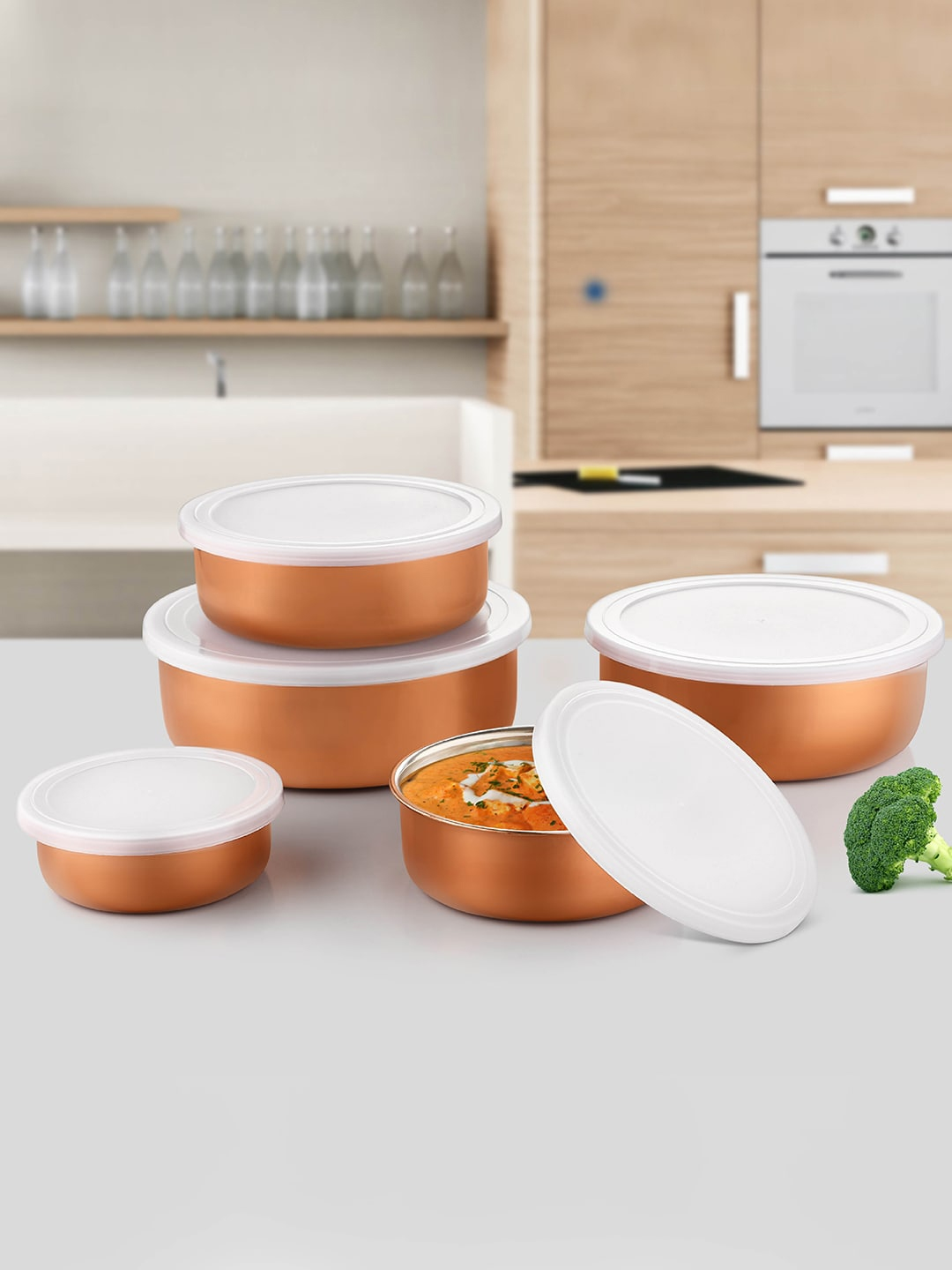 Jensons Set of 5 Copper Toned Solid Stainless Steel Bowl Storage Set With Covers