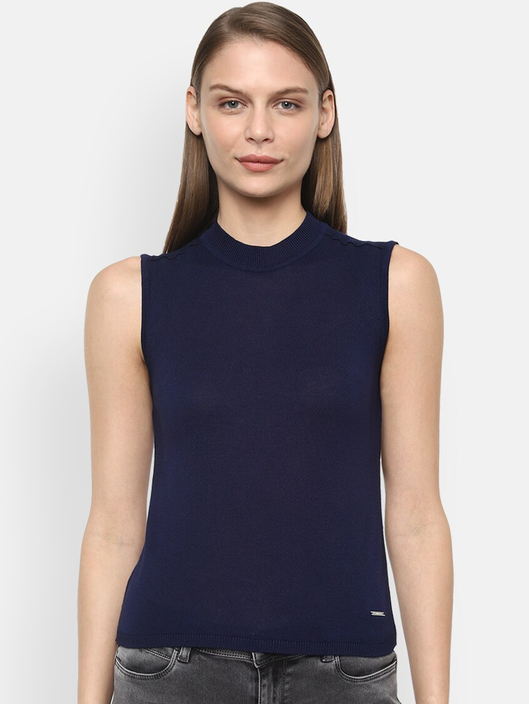 Van Heusen Woman Navy Blue High Neck Sleeveless Top