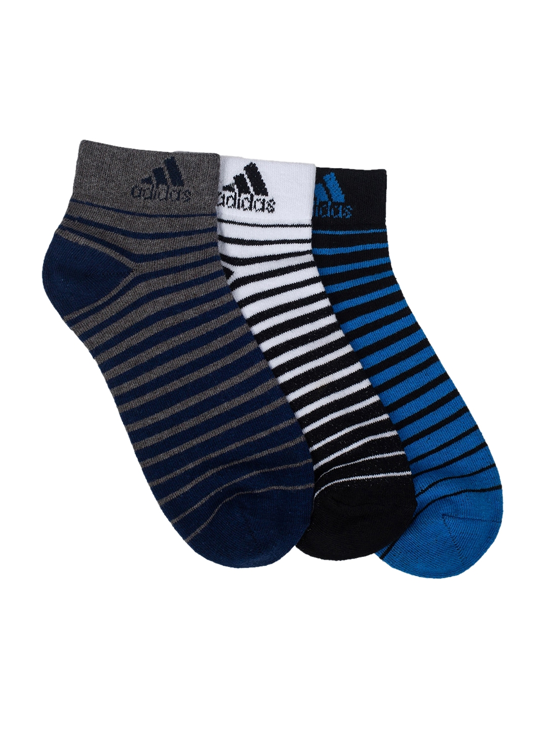 Adidas Men Pack of 3 Striped Ankle Length Socks