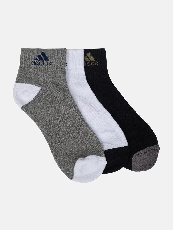 ADIDAS Men Pack Of 3 Colourblocked Ankle Length Socks