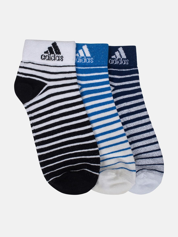 ADIDAS Men Pack of 3 Striped Ankle Length Socks