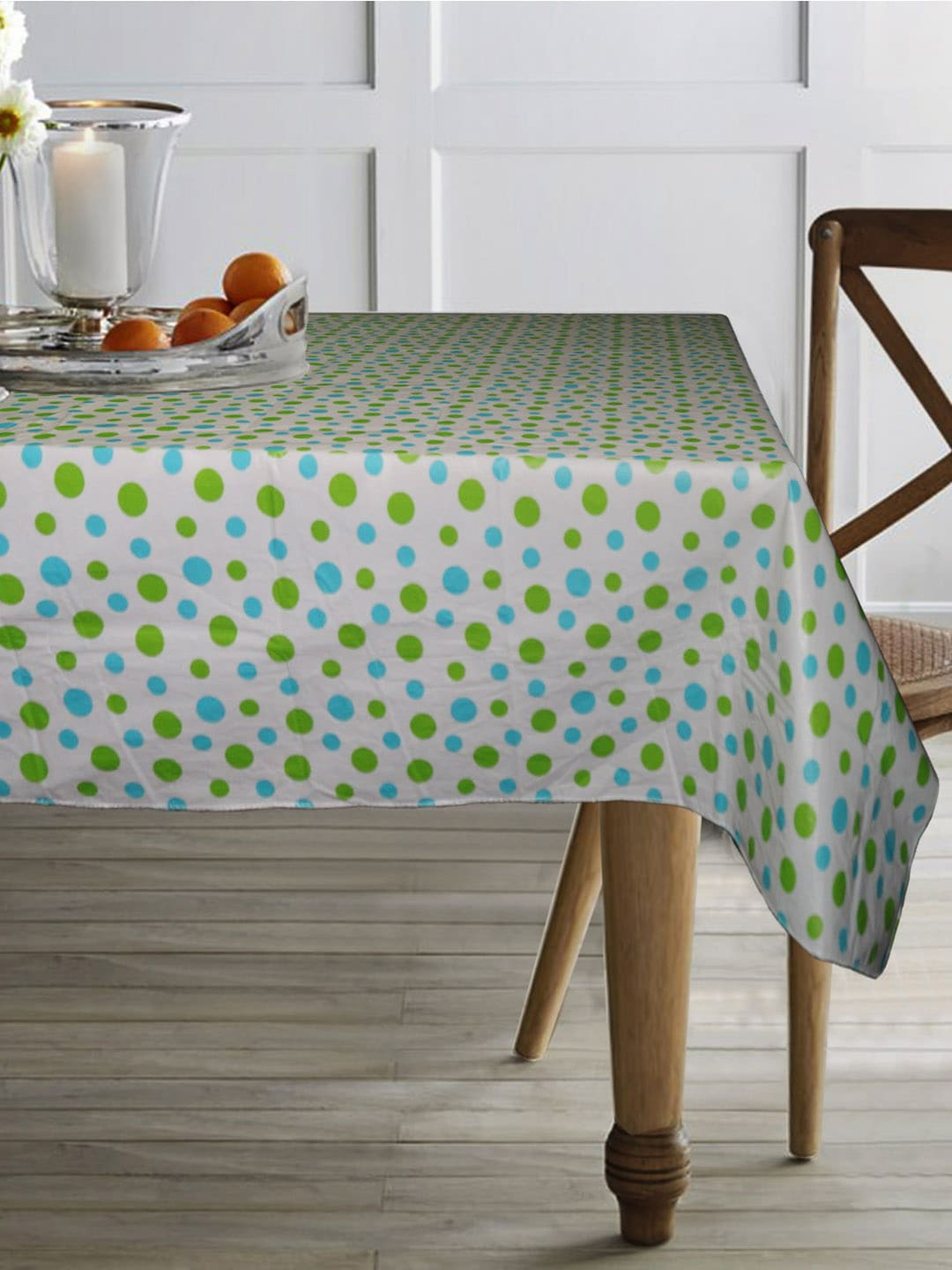 Lushomes Off White   Green Polka Dots Printed Waterproof Table Cover