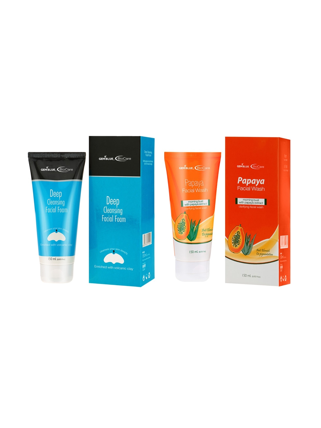 GEMBLUE BioCare Papaya Face Wash And Deep Cleaning Facial Foam 150 ml Each Combo of 2