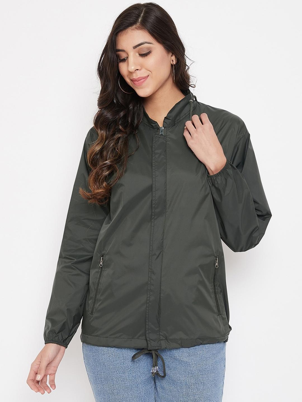 Okane Women Olive Green Solid Rain Jacket