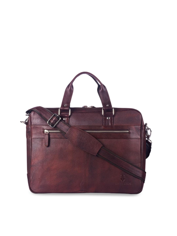 WildHorn Men Maroon Textured Genuine Leather 16 Inch Laptop Bag