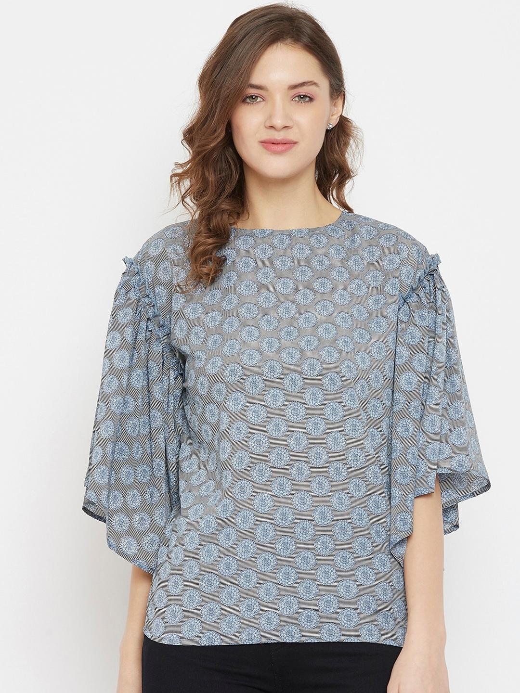 The Kaftan Company Women Grey Printed Top