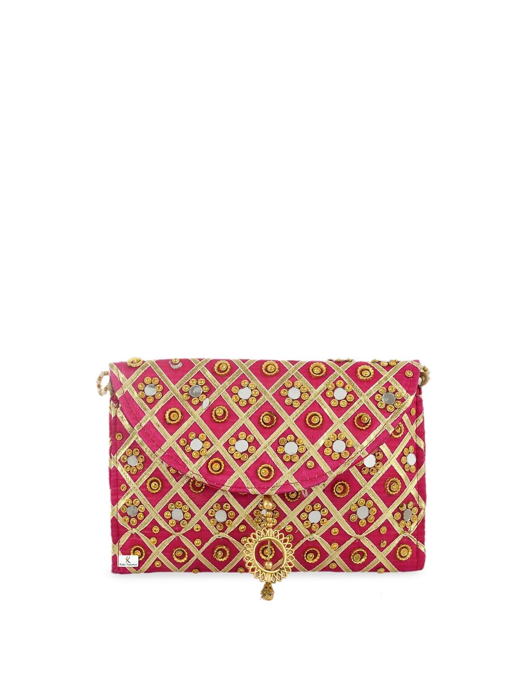 Kuber Industries Pink Self Design Sling Bag