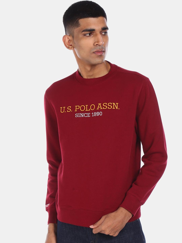 U.S. Polo Assn. Men Red Printed Sweatshirt