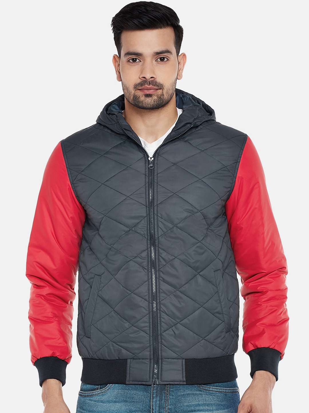 People Men Grey Solid Quilted Jacket