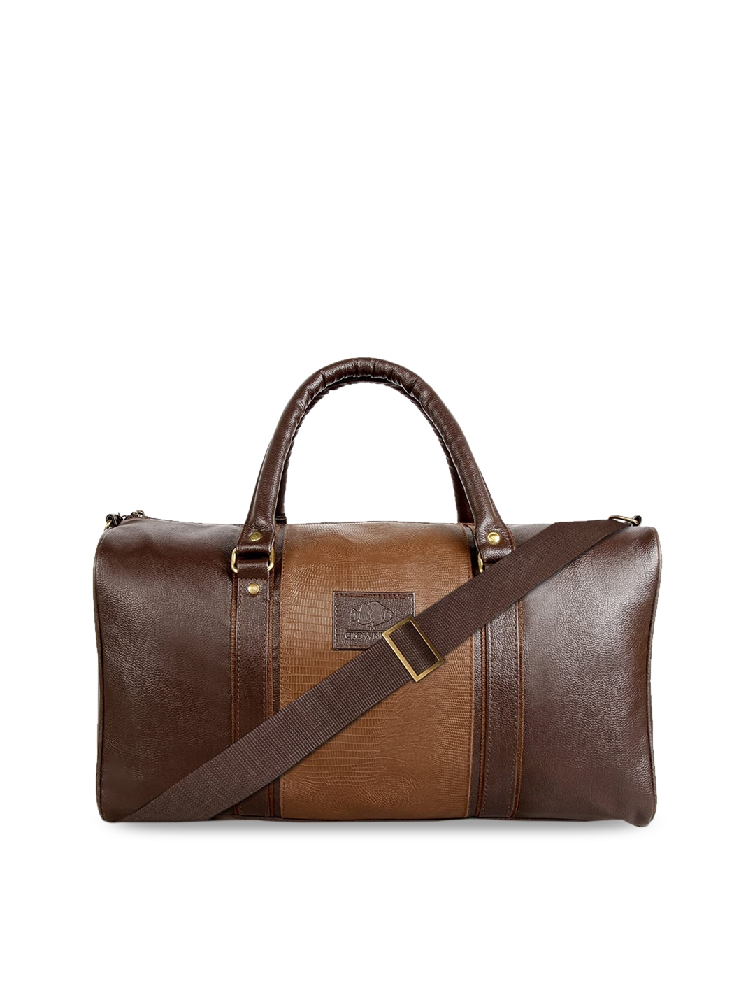 THE CLOWNFISH Unisex Brown Textured Ambiance Duffel Bag