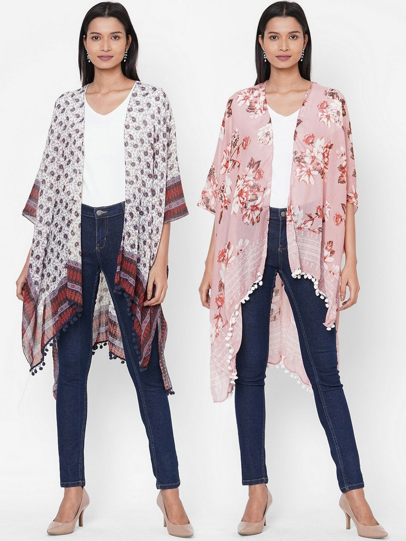 Get Wrapped Women Pack of 2 Grey Printed Kimono Shrugs