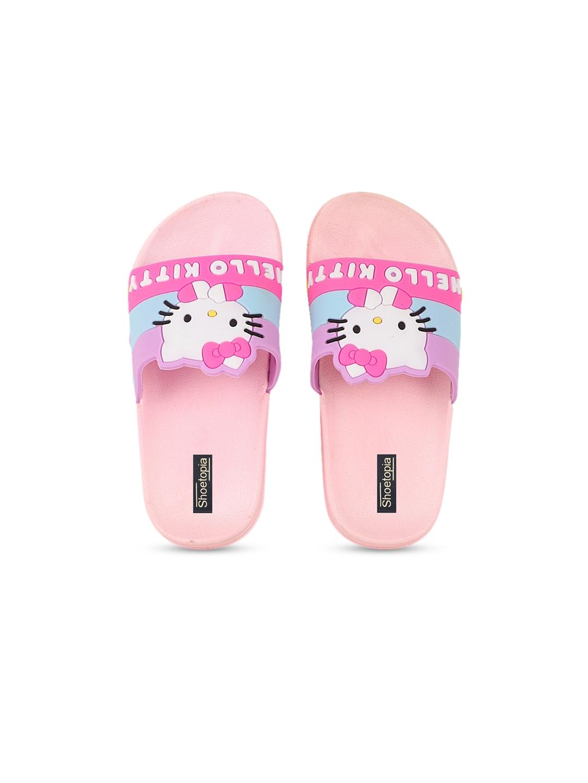 Shoetopia Girls Pink Hello Kitty Printed Sliders