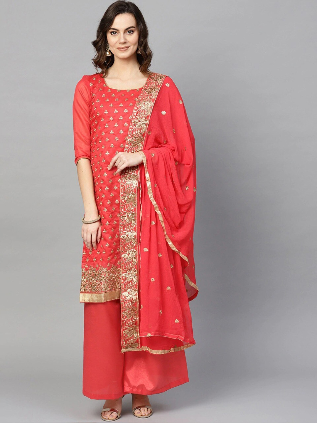 Ishin Coral   Gold Toned Cotton Blend Unstitched Dress Material with Chiffon Dupatta