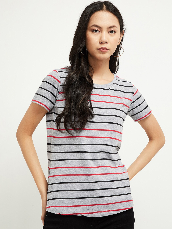 max Women Grey   Black Striped Round Neck Cotton T shirt