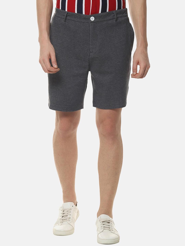 Campus Sutra Men Grey Solid Regular Fit Shorts