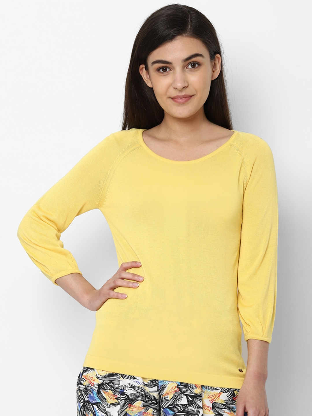 Allen Solly Woman Women Yellow Solid Round Neck T shirt
