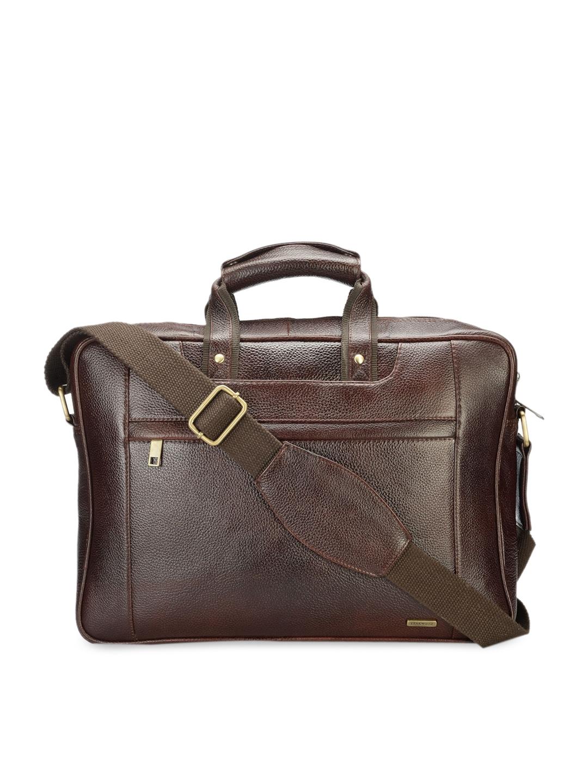 Teakwood Leathers Unisex Brown Textured 15 Inch Laptop Bag