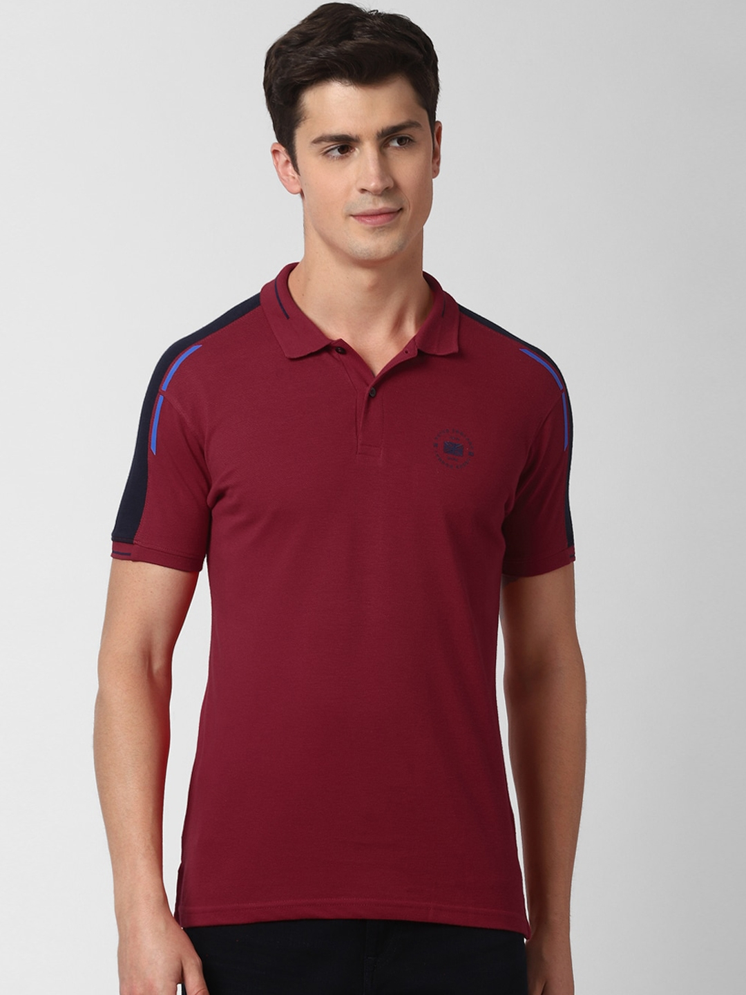 Peter England Casuals Men Maroon Solid Polo Collar T shirt