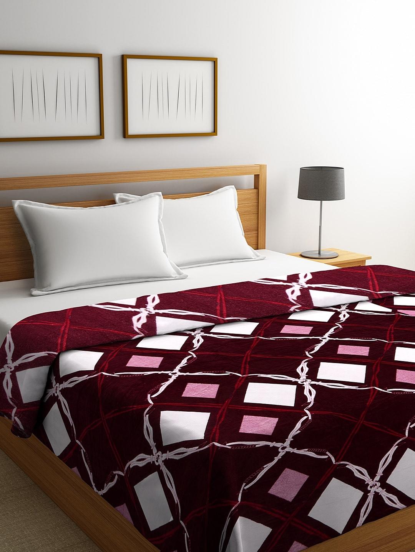 NEUDIS Maroon   Pink Geometric AC Room 230 GSM Double Bed Blanket