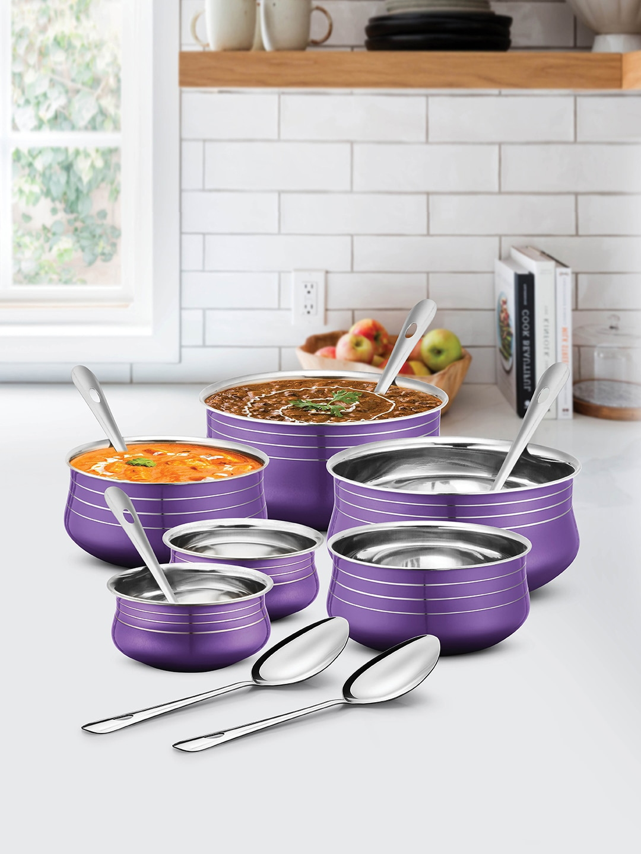 URBAN CHEF Purple 12 Pcs Stainless Steel Handi Set with 6 Pcs Service Spoon