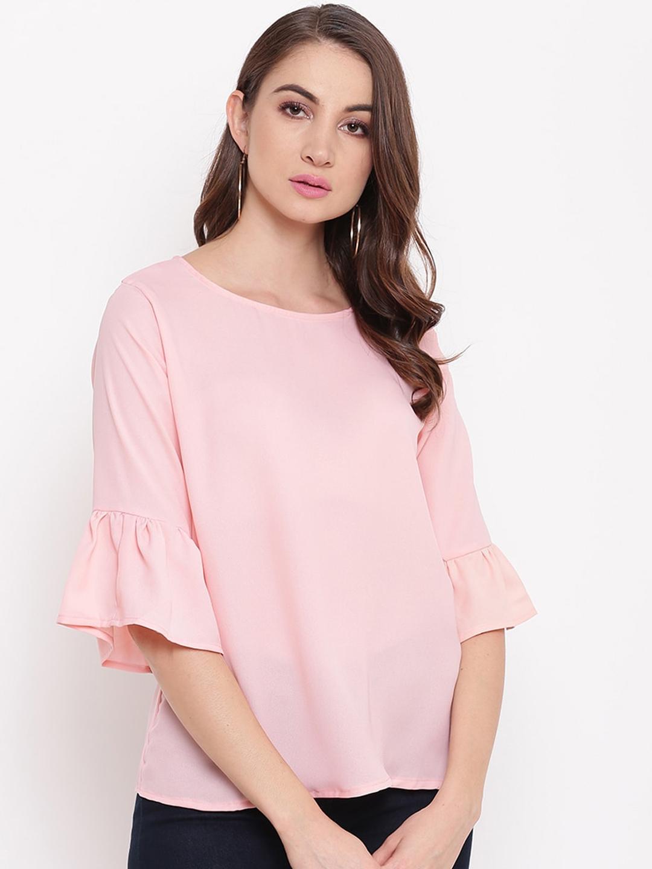 Mayra Pink Flared Sleeves Crepe Regular Top
