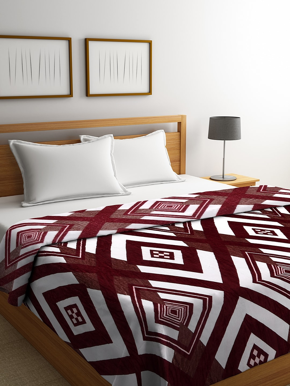 NEUDIS Burgundy   White Geometric AC Room 230 GSM Double Bed Blanket