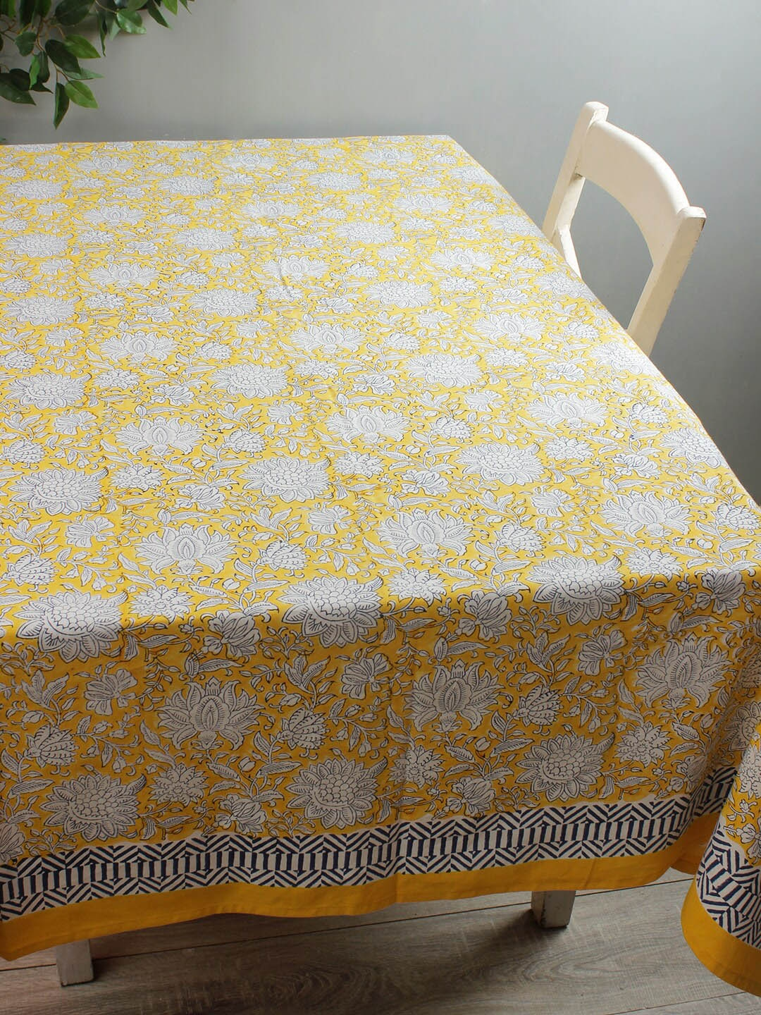 Rajasthan Decor Yellow   White Floral Printed 6 Seater Table Cover