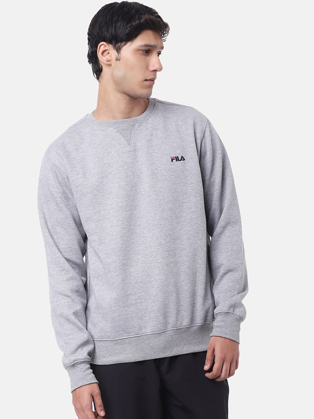 FILA Men Grey Solid Sweatshirt