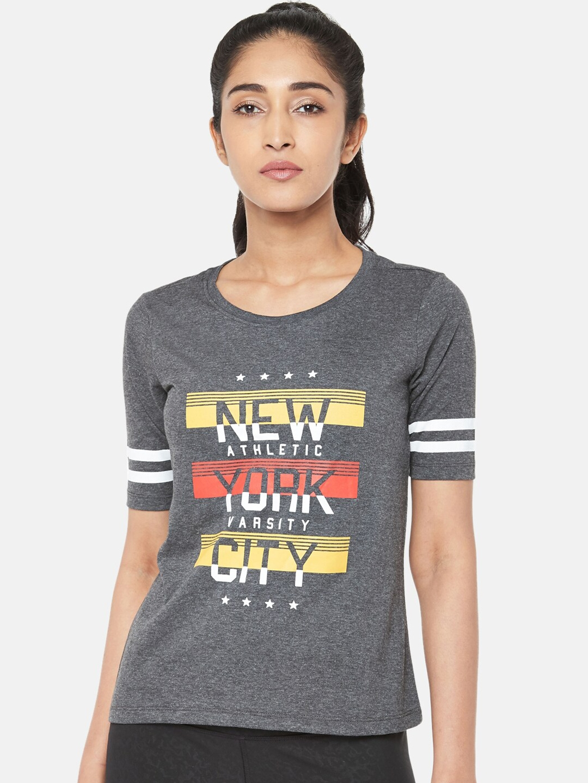 Ajile by Pantaloons Women Grey Printed Round Neck T shirt