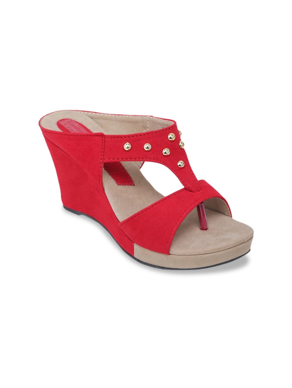 LONDON STEPS Women Red   Beige Colourblocked Wedges