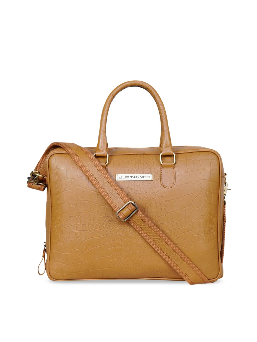 Justanned Men Tan Textured Leather 14 Inch Laptop Bag