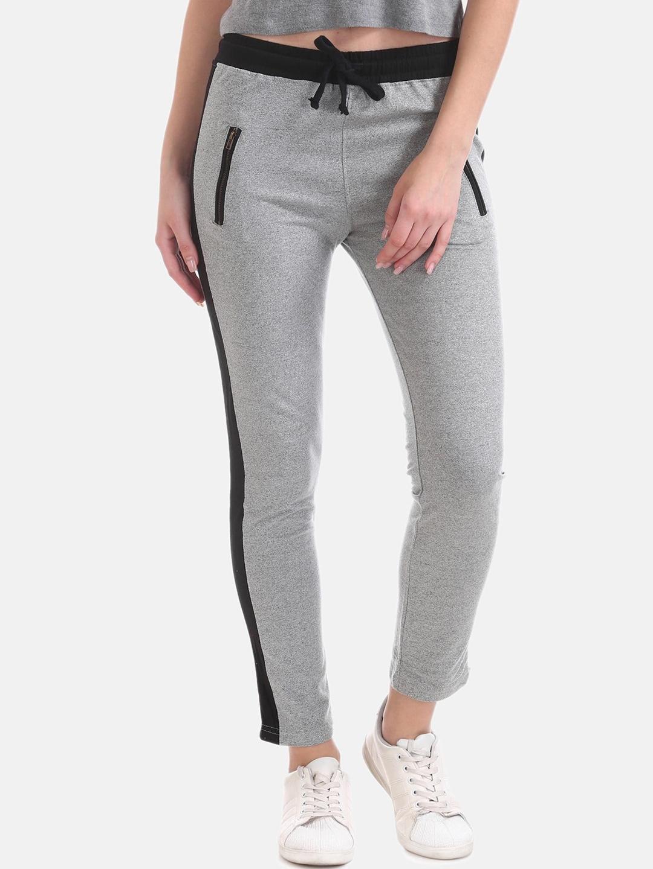 Sugr Women Grey   Black Solid Track Pants