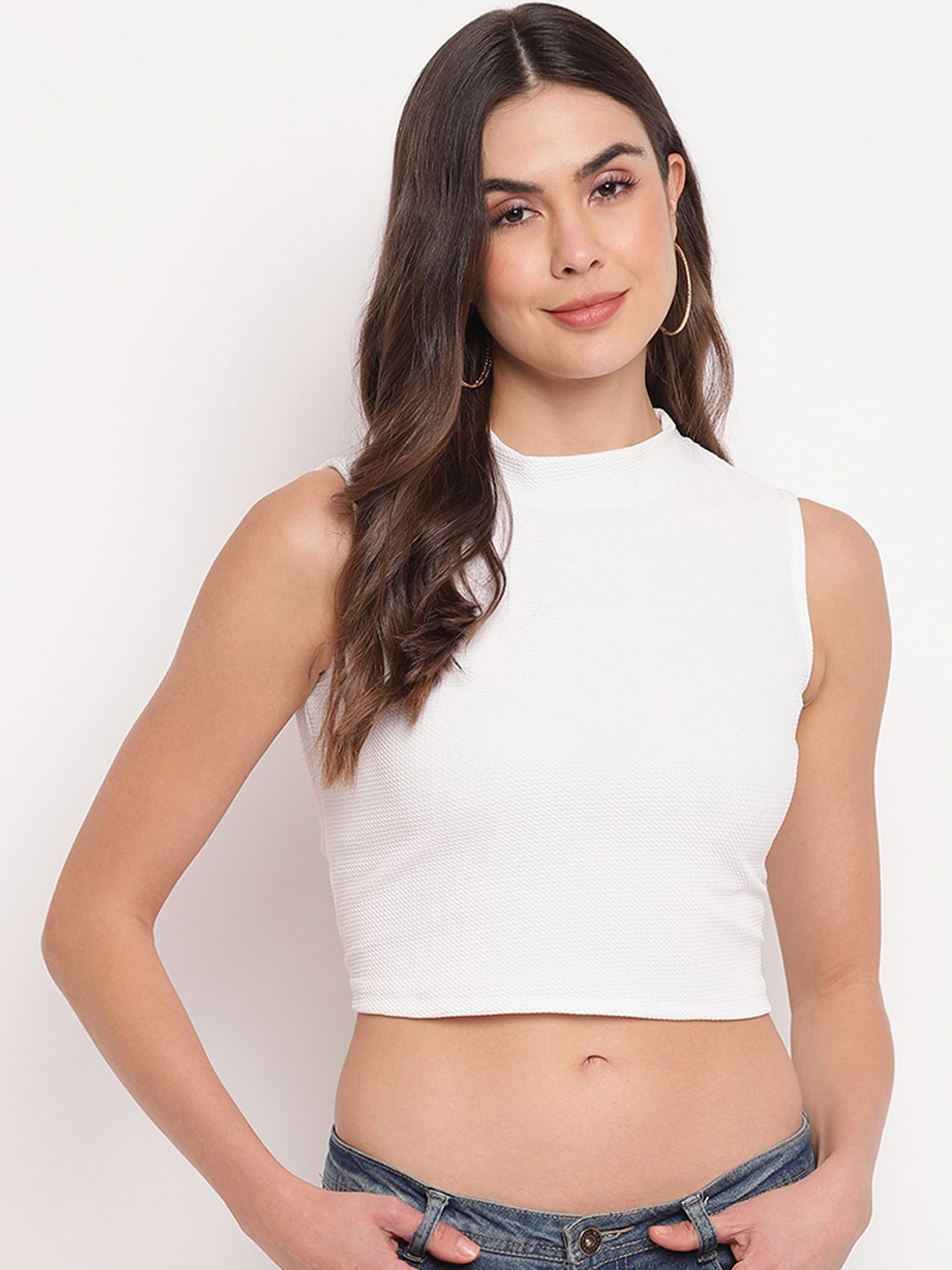 Mayra Women White Solid Fitted Crop Top