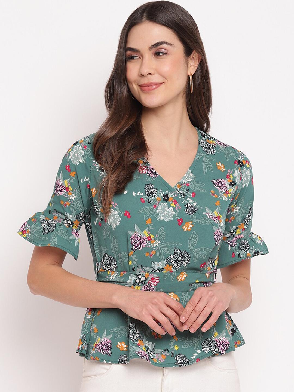 Mayra Green Floral Printed Bell Sleeves Crepe Wrap Top