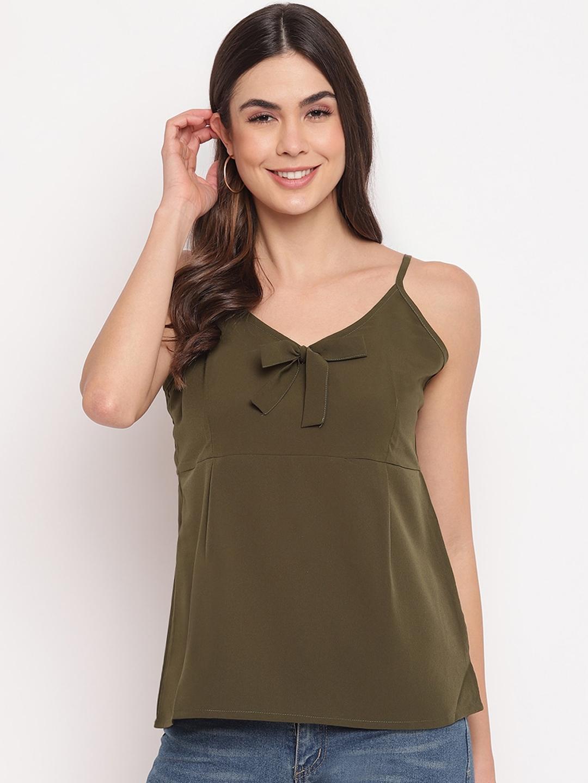 Mayra Olive Green Sleeveless Regular Top