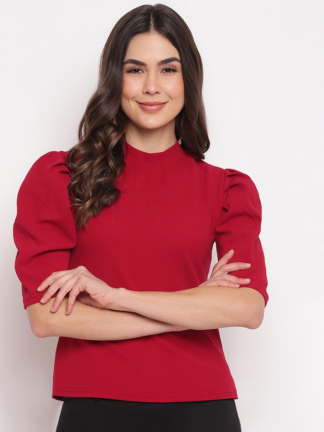 Mayra Women Red Puff Sleeves Party Top