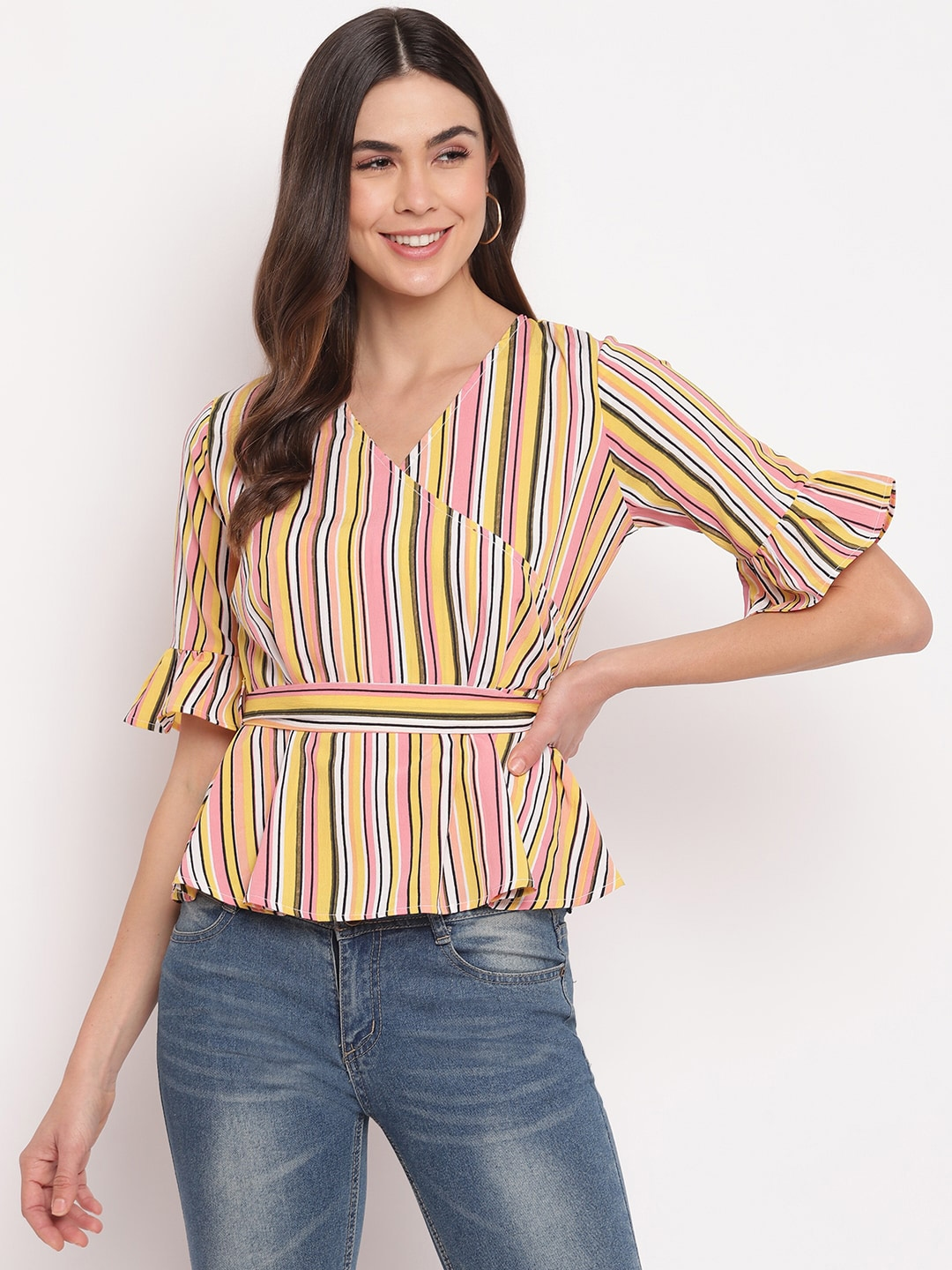 Mayra Yellow Striped Bell Sleeves Crepe Wrap Top
